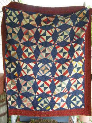 Antique Patchwork Patriotic Red White & Blue Quilt - circa 1915, on eBay at butybst