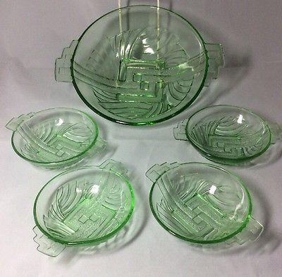 Vintage Stolle Niemen 5 Piece Art Deco Polish Green Glass Dessert Set
