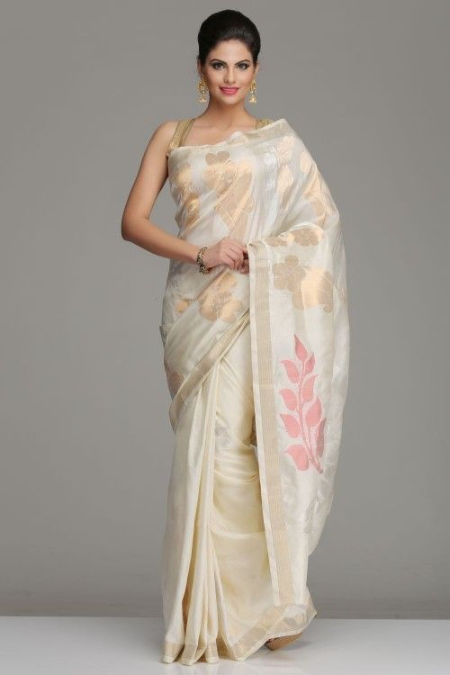 Ivory Uppada Silk Saree With Bold Dull Gold Silver Zari Floral Motifs, And Peacock Motifs On The Pallu