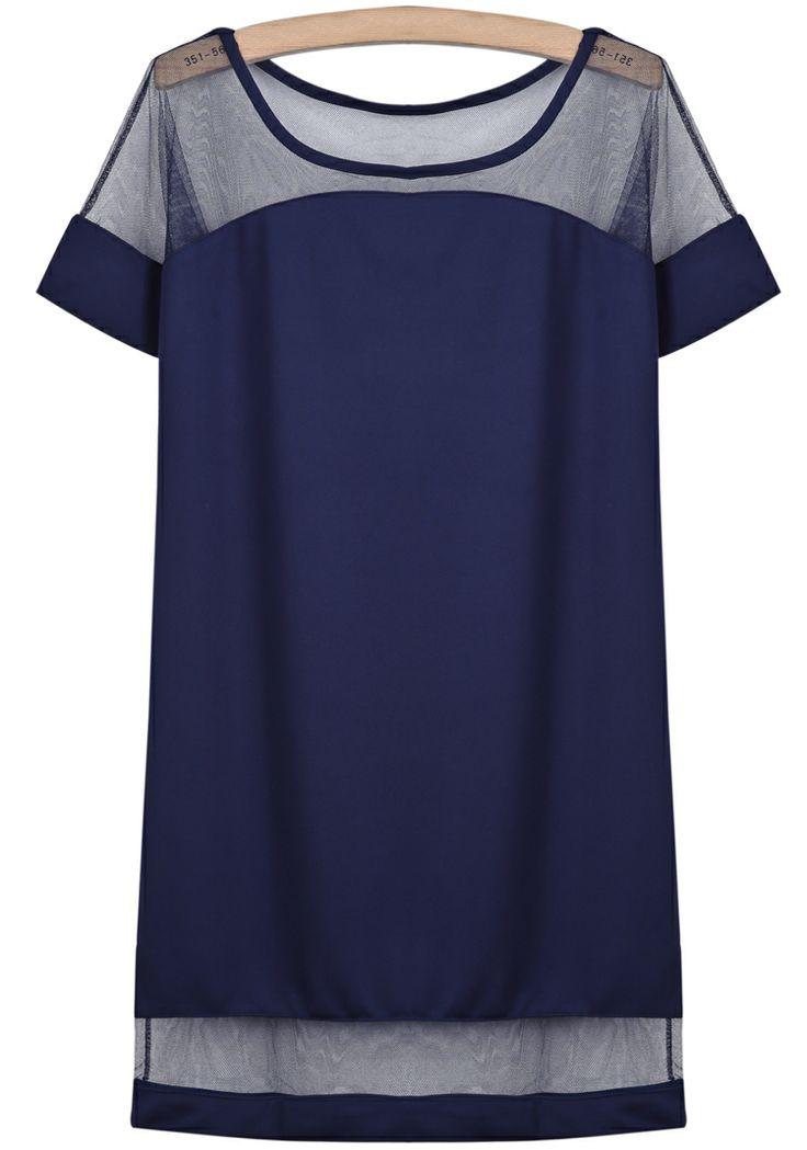 Blue Contrast Sheer Mesh Yoke Loose Dress - Sheinside.com