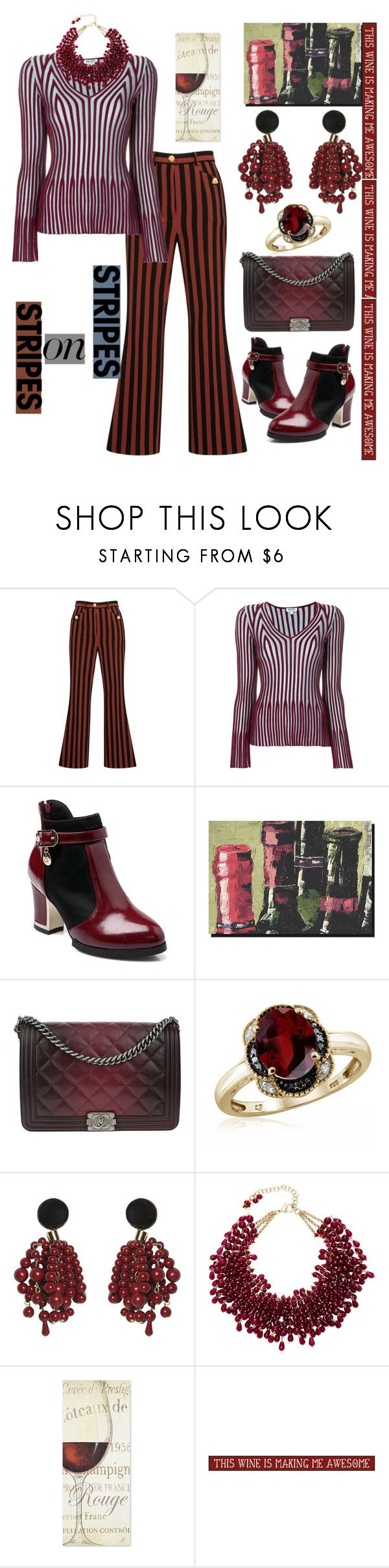 """""""Stripes on Stripes & Burgundy Wine"""" by mdfletch ❤ liked on Polyvore featuring Dolce&Gabbana, Kenzo, Somerset House, Chanel, Jewelonfire, Marni, Rosantica, My Word!, stripesonstripes and PatternChallenge"""