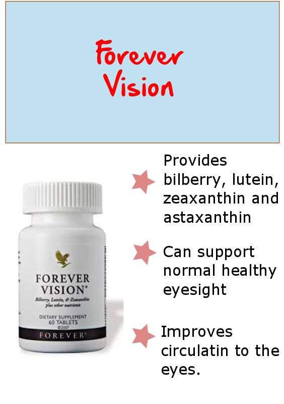 Forever Vision is a dietary supplement containing bilberry, lutein and zeaxanthin with super - antioidants and other nutrients.