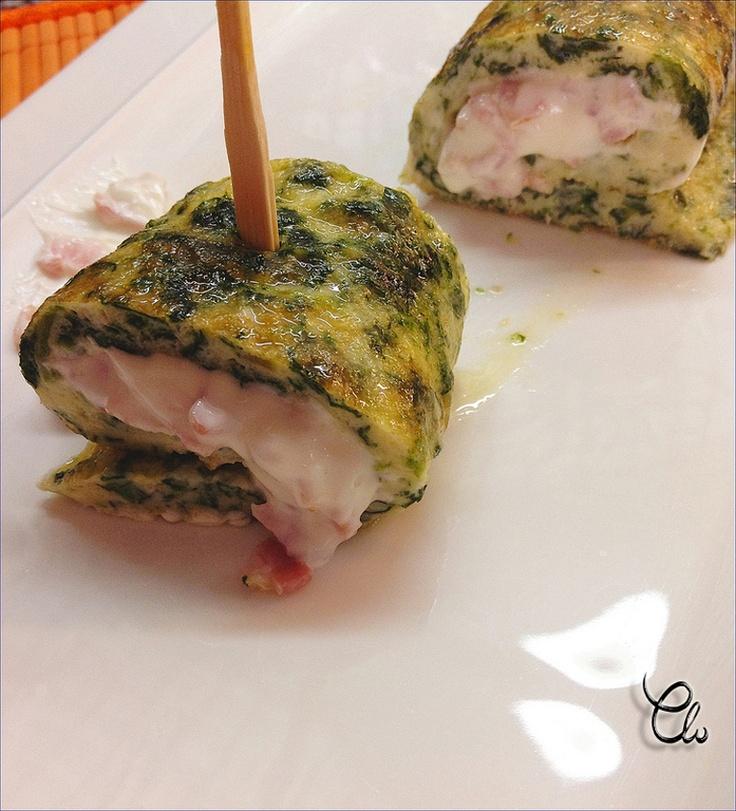 Tortitas de espinacas rellenas de crema de queso con bacon   LA COCINA DE MI CASA