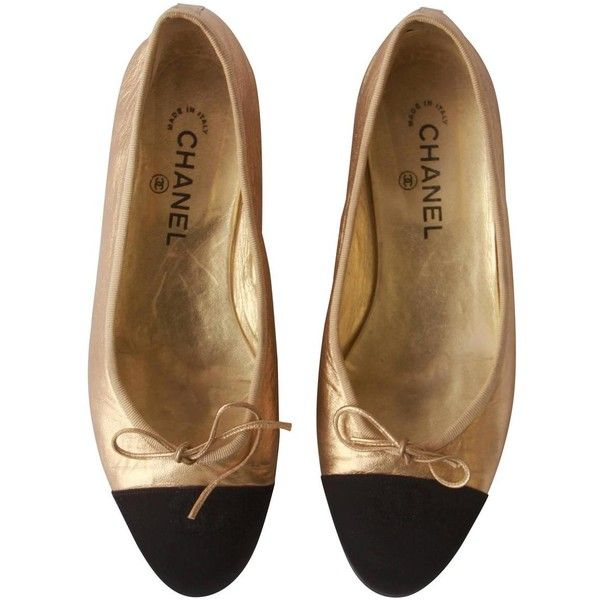 Pre-owned Chanel Gold Black Ballet Flats 1990's ($650) ❤ liked on Polyvore featuring shoes, flats, accessories, skimmer flats, black skimmer, black ballet pumps, chanel flats and ballet shoes
