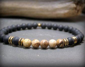 Mens Bracelet mens Beaded Bracelet Bracelet by StoneWearDesigns