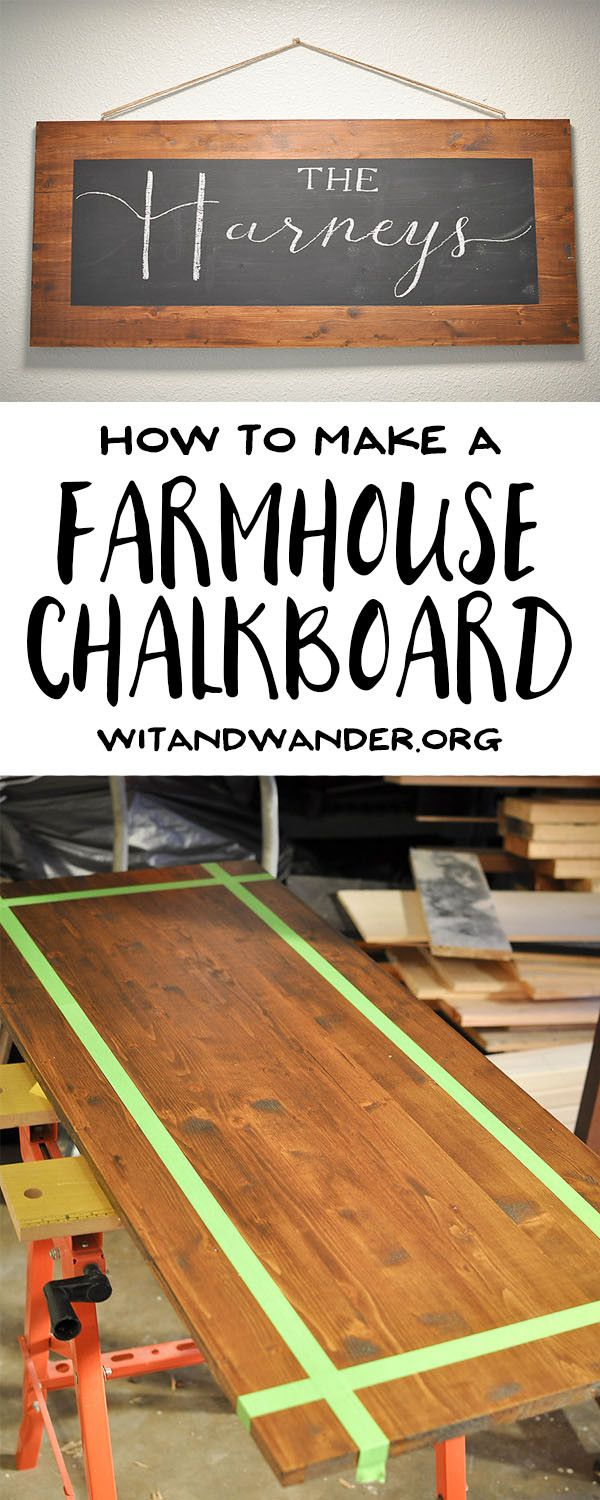DIY Rustic Farmhouse Chalkboard - Wit & Wander  Create your own DIY Rustic Farm House Chalkboard with this simple tutorial from Wit & Wander. From picking the perfect piece of wood, to staining the wood, and choosing the chalkboard paint, I will guide you through the whole process so you have a gorgeous chalkboard for your kitchen in no time.