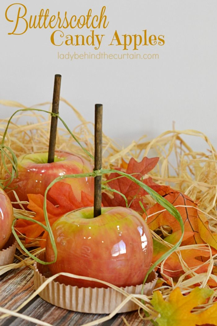 Butterscotch Candy Apples | Crunchy delicious butterscotch coating encased around a juicy crisp apple! Perfect for your Thanksgiving table!