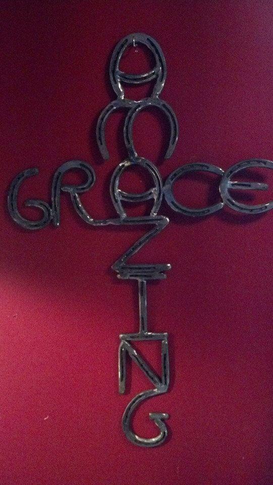 Amazing Grace Cross made with Horseshoes