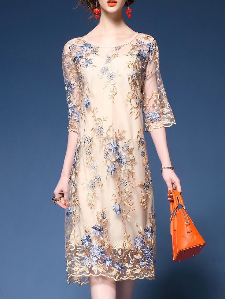 18++ Apricot gauze flowers embroidered maxi dress inspirations