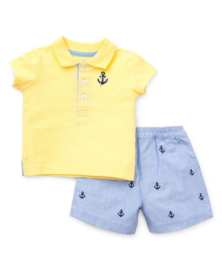 Baby boys outfit includes a preppy yellow short sleeve polo and blue shorts perfect for the season ahead