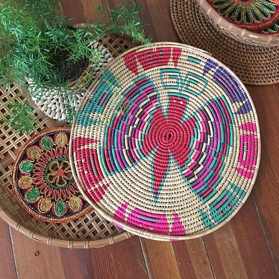 Coiled Basket Wall Hanging  Colorful Southwestern Basket