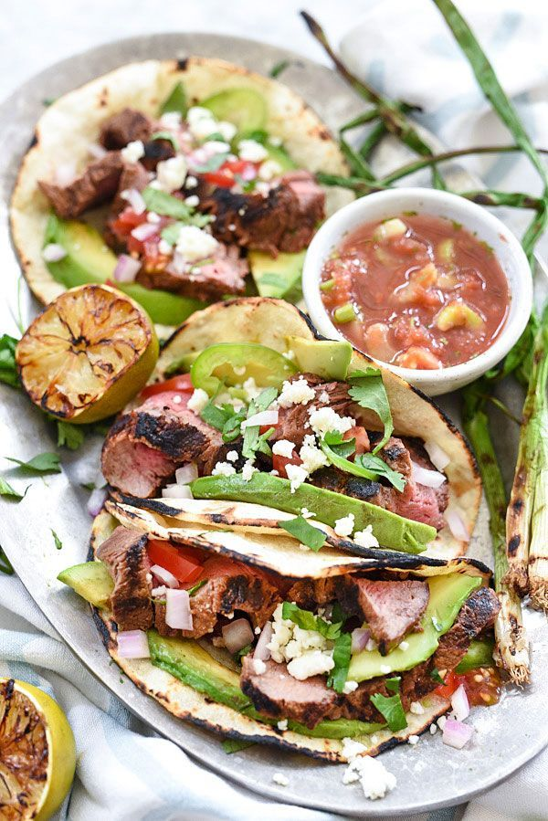grilled steak tacos marinated in a citrus adobo sauce on foodiecrush.com