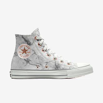 Marble converse high tops with rose gold accents. I want to get these. You can go on converse.com and get them today.