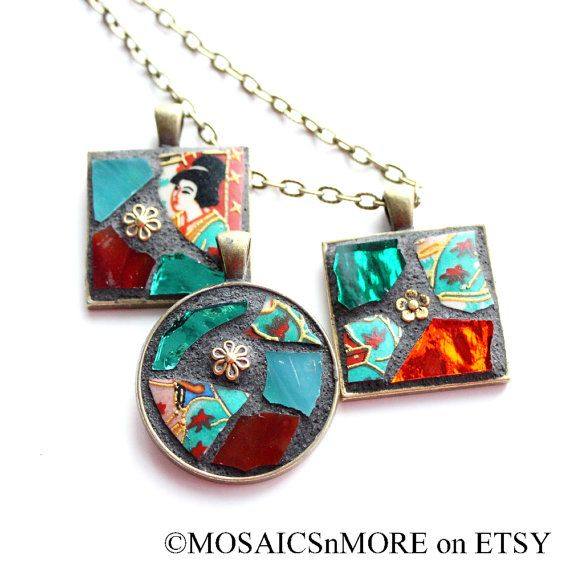 Beautiful Mosaic Pendant Necklace with Chain by MOSAICSnMORE