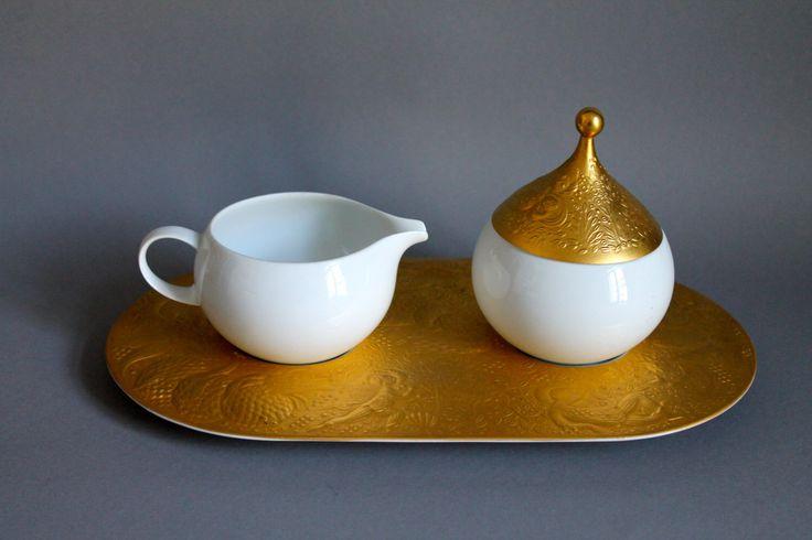 ROSENTHAL Magic Flute Sarastro Tray with Sugar Bowl & Creamer Gold 1st Qualität  by porcelainexpert on Etsy https://www.etsy.com/listing/239317406/rosenthal-magic-flute-sarastro-tray-with