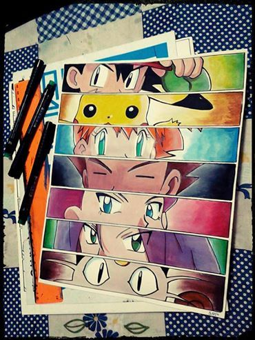 Pokemon Ash Ketchum,Pikachu,Misty,Brock,Jessie,James e Meowth