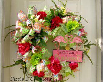 Deco Mesh Wreath Teacher Wreath Summer Wreath by NicoleDCreations