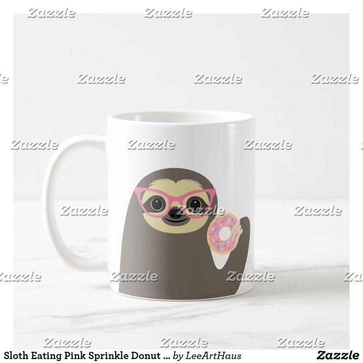 Sloth Eating Pink Sprinkle Donut Coffee Mug