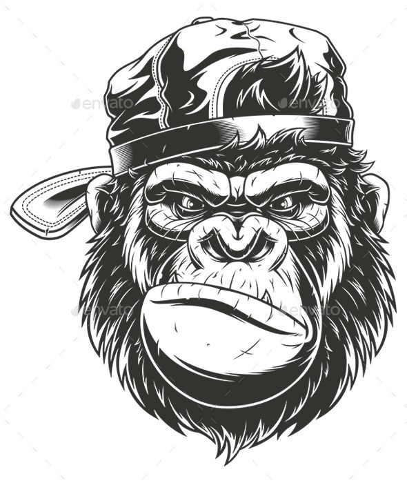 Monkey S Head In A Baseball Cap Monkey Art Gorilla Tattoo