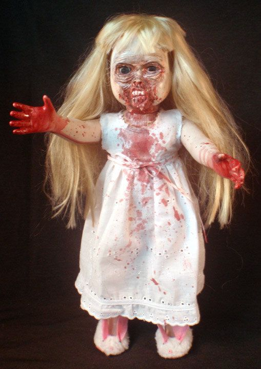 ROT TOT Zombie Bedtime Katie with Bunny Slippers and Night Gown OOAK. $150.00, via Etsy.