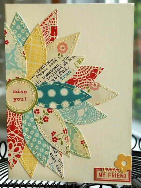 This is a great way to use scraps of paper for cards or scraps of material for pillows, lap blanket and such.