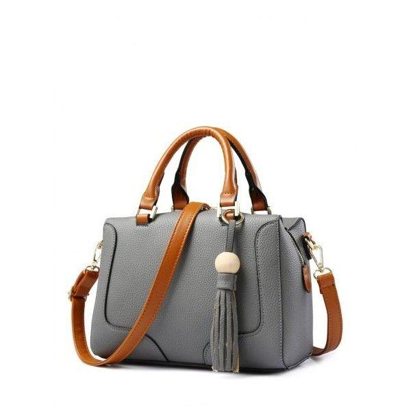 PU Leather Wood Ball Tassel Handbag ($23) ❤ liked on Polyvore featuring  bags,