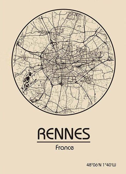 Karte / Map ~ Rennes, Frankreich / France