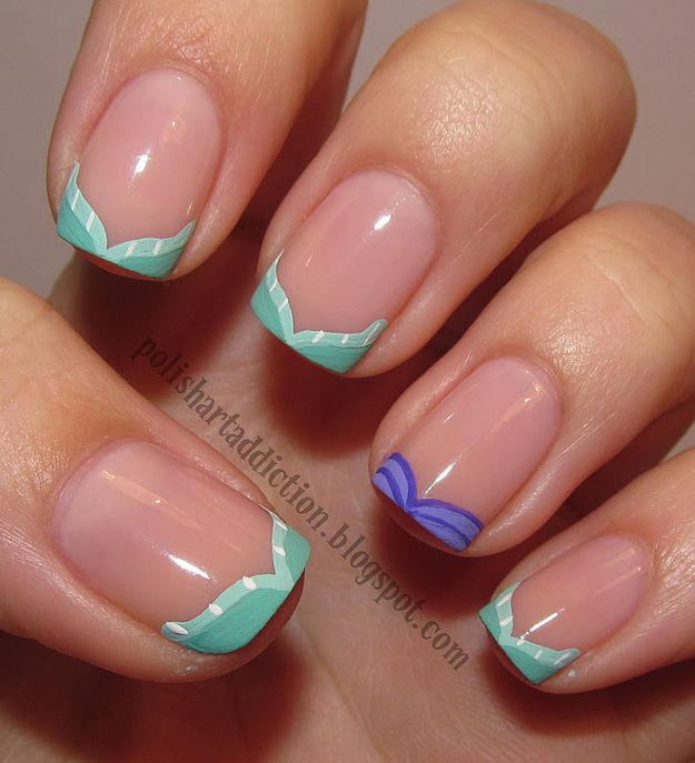 These Ariel-inspired tips are definitely doable. | 16 Examples Of Disney Nail Art That Will Render You Speechless