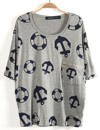 #SheInside Grey Batwing Sleeve Anchor Lifebuoy Print T-Shirt