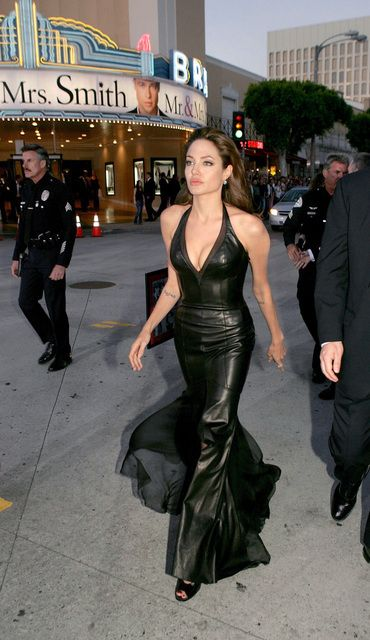 Angelina Jolie and Versace Black Leather V-Neck Gown, Mr & Mrs Smith premiere