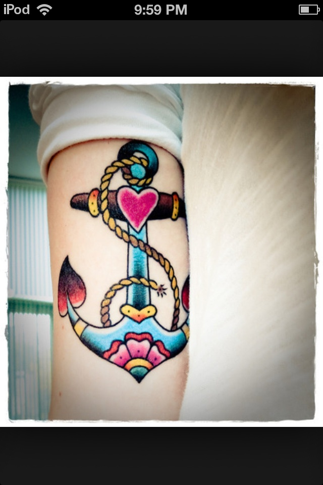 Girly Anchor tattoo. I love this! Not sure how it would age though.