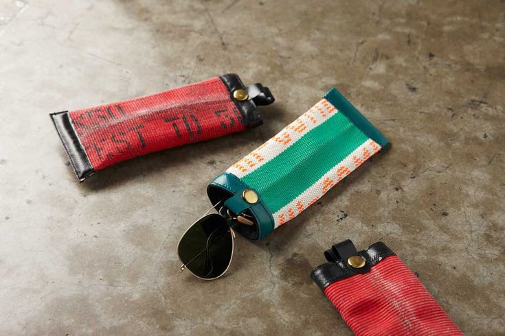eyeglass holder from a recycled fire hose.