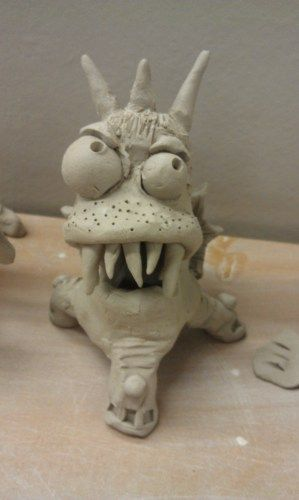 Clay monster. These will be painted after the bisque firing. This should give you a bit more control over color.