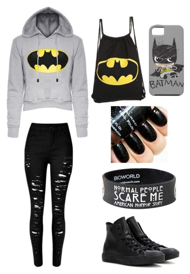 """""""Batman"""" by martinolivia on Polyvore featuring Converse, women's clothing, women, female, woman, misses and juniors"""