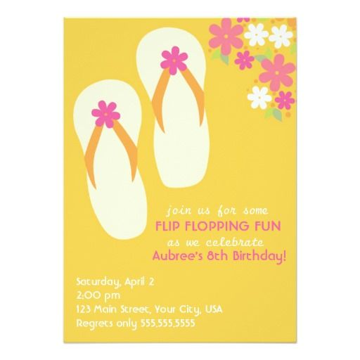 381 best images about Flip flops Birthday party Invitations on – Flip Flop Party Invitations