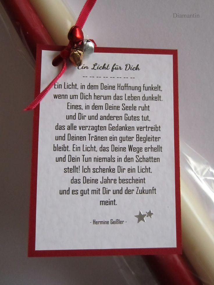 2 Kerzen mit dem Gedicht: Ein Licht für Dich