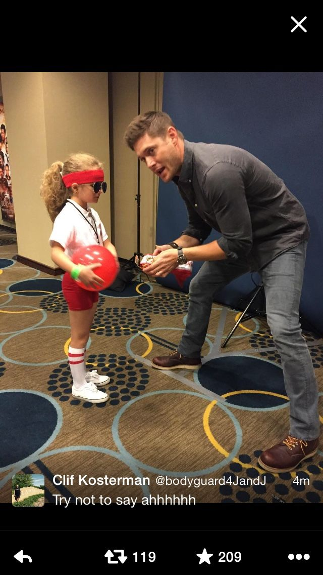 "Number 1, Dean in the Gym outfit was PRICELESS; Number 2, a little girl picked up on the awesomeness of the character moment and chose it as HER costume; Number 3) Jensen Ackles gives her a moment of time and recognizes that those TV moments, like ""The whistle makes me their god...Walk it off!"" are  GOLDEN and TIMELESS and stops to make a priceless moment a perfect one. What a truly beautiful human being."