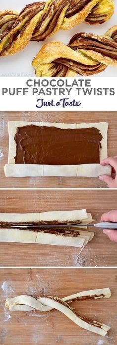 Chocolate Puff Pastry Twists recipe from http://justataste.com #recipe #dessert