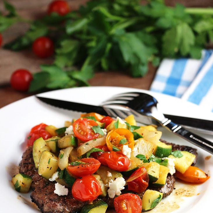 Minute Steak with Ratatouille Recipe Main Dishes with beef steak, herbes de provence, salt, canola oil, zucchini, onions, cherry tomatoes, feta cheese