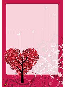 Papier à lettre Saint-Valentin à imprimer, arbre en cœur
