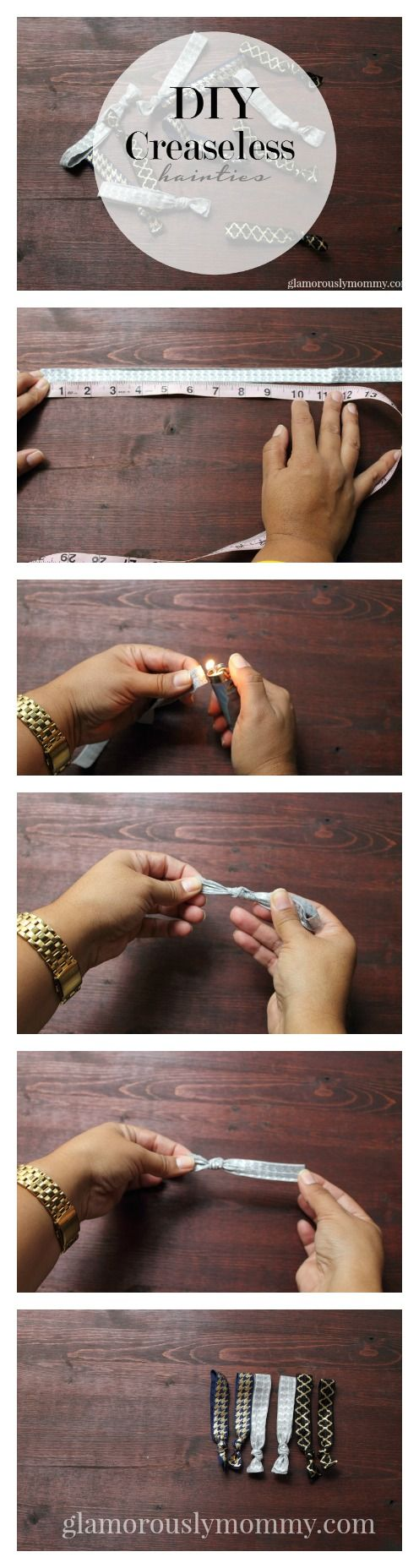 Save your money and make your own Creaseless Hair Ties. It\'s so simple and quick. Find out how Tawny from GlamorouslyMommy.com made her own for under $2 #DIY