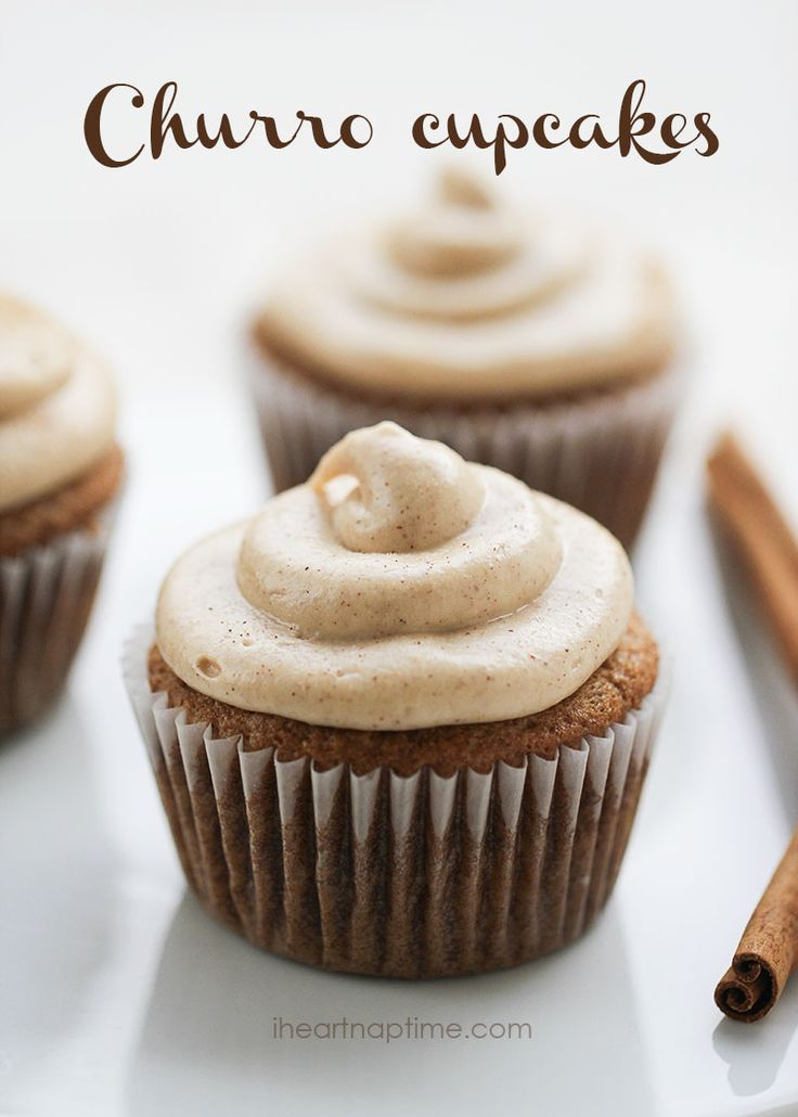 Churro cupcakes recipe w/ cream cheese frosting. If you love churros... youve got to try these!