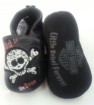 Harley-Davidson Baby Boy Pre-Walker Shoes Black Skulls - Infant Slip-On Slippers