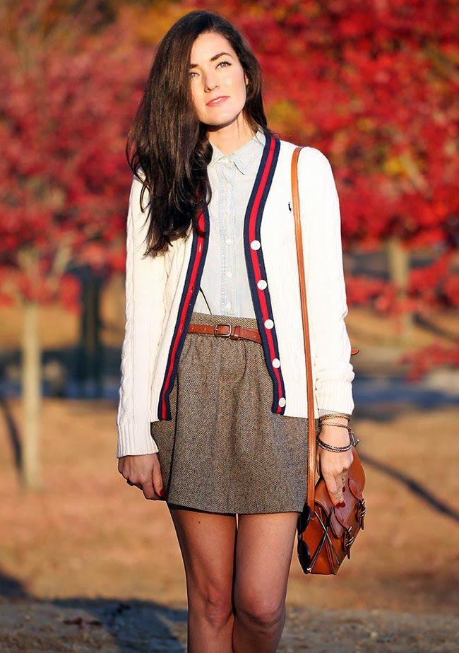 THIS. This I need in my life. the button up, collared shirt, the A-line belted tweed skirt, the chunky knit, contrast trim cardigan, even the little leather purse! Would wear this in a heartbeat, too cute!!