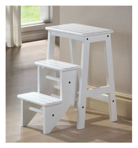 Step Stool Kitchen Wooden Folding Library Ladder Shelf