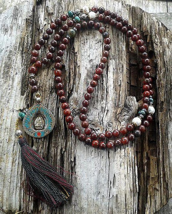 Jasper Mala Necklace decorated with a Buddha pendant
