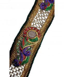Galons Indiens Brodés 8.5 cm X 1M en dentelle cutwork doré Vert Motif Paon