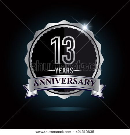 13th anniversary logo with ribbon. 13 years anniversary signs illustration. Silver anniversary logo with ribbon. - stock vector