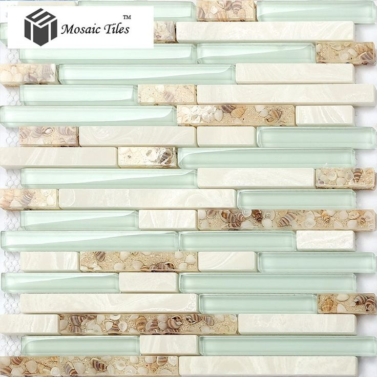 TST Glass Conch Beach style Mother Of Pearl Shell Resin Aqua White Stone Marble Tile Kitchen Backsplash Deco Bathroom Wall Art