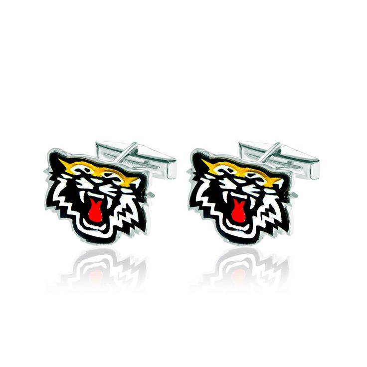 Pair of sterling silver and enamel Hamilton Tiger-Cats cufflinks.